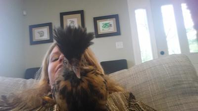 Rebecca holding her chicken with scissor beak
